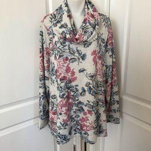 Cupio Floral Print Super Soft Cowl Neck Sweater
